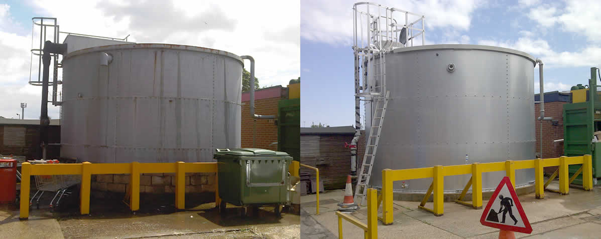 Servicing sprinkler system tanks - before and after